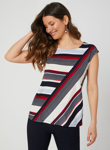 Stripe Print Top, Blue, hi-res,  short sleeves, jersey, extended sleeves, summer 2019