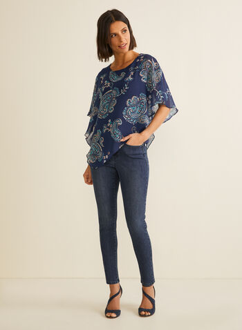 Floral Chiffon Poncho Blouse, Blue,  blouse, poncho, chiffon, floral, paisley, asymmetric, spring 2020
