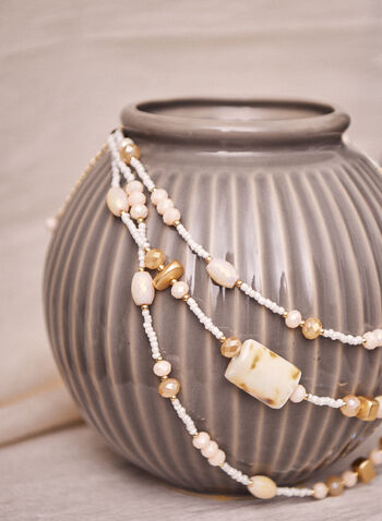 Triple Row Faceted Stone Necklace, Off White,  spring summer2021, accessory, accessories, necklace, triple row, stones, beads, pearls, lobster claw, carabiner
