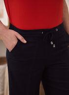 Pantalon gaucho aspect lin à détails de dentelle, Bleu