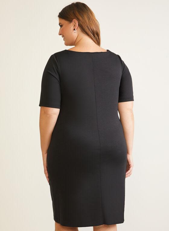 Elbow Sleeve Sheath Dress, Black