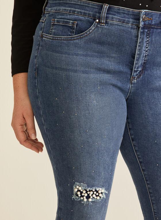 Joseph Ribkoff - Jeans effet usé à perles, Bleu