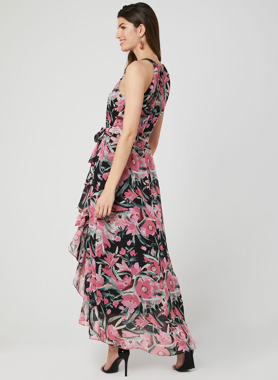 Robe longue fleurie en mousseline , Rose, hi-res