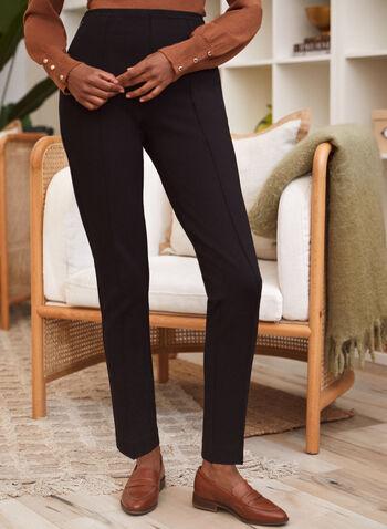 Slim Leg Pull-On Pants, Black,  fall winter 2021, pants, bottoms, slim fit, professional, classic, pull on, pocketed, pleats,