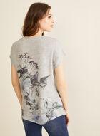 Rhinestone & Floral Print Top, Off White