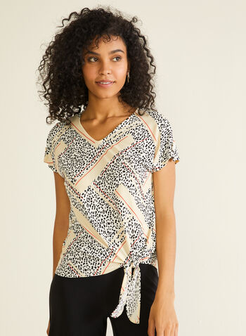 Abstract Print Knot Detail Top, White,  top, v-neck, short sleeves, abstract, animal, jersey, knot, spring summer 2020
