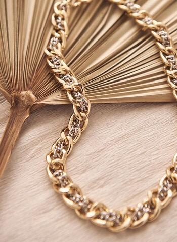 Collier à chaînes entrelacées bicolores, Jaune,  accessoire, bijou, collier, maillons, entrelacement, doré, argenté, or, argent, printemps été 2021