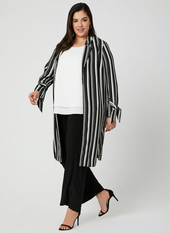 Stripe Print Duster, Black, hi-res