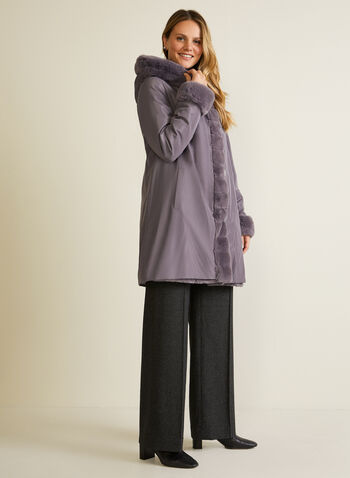 Faux Fur Reversible Coat, Purple,  fall winter 2020, coat, reversible, faux fur, pockets