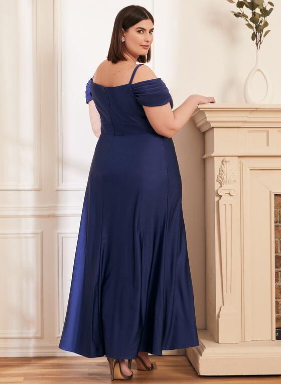 Satin Off-the-Shoulder Dress, Blue