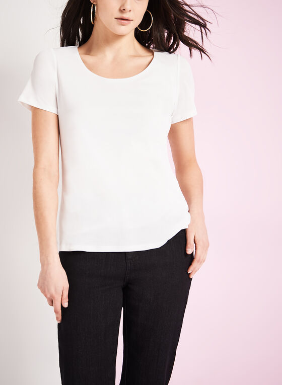 Scoop Neck Knit Top , Off White, hi-res
