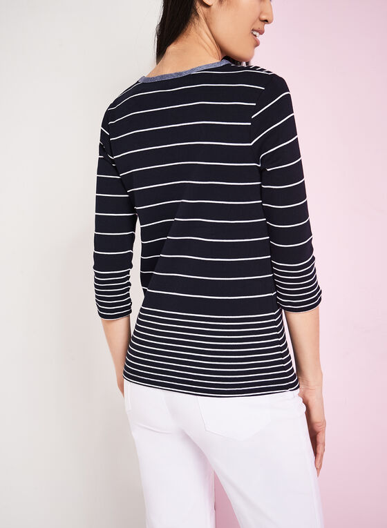 ¾ Sleeve Stripe Print Top, Blue, hi-res