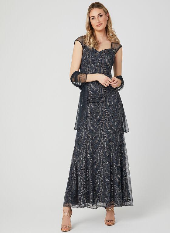 Illusion Back Glitter Dress, Grey