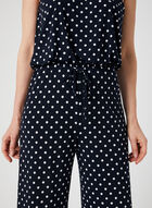 Polka Dot Print Strapless Jumpsuit, Blue, hi-res