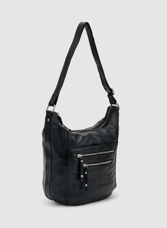 Genuine Leather Hobo Bag, Black, hi-res