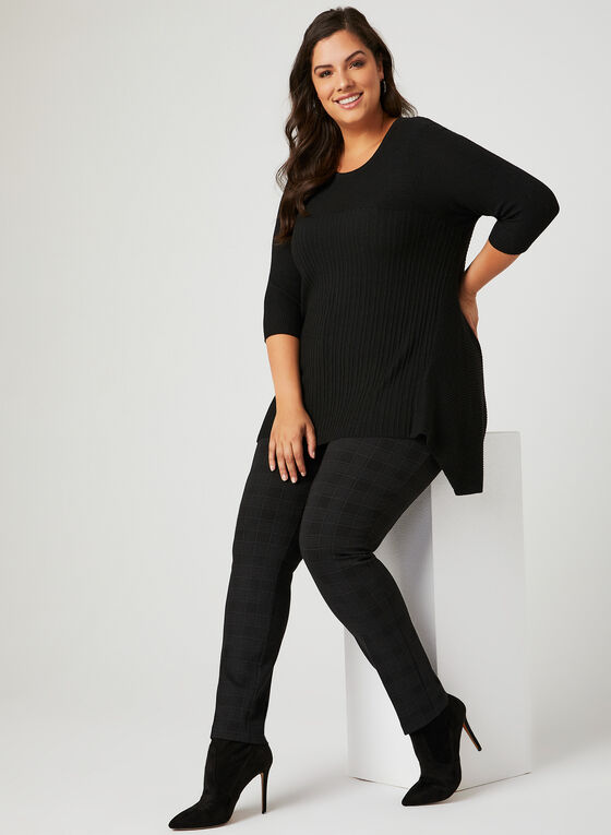 ¾ Sleeve Rib Knit Tunic, Black, hi-res