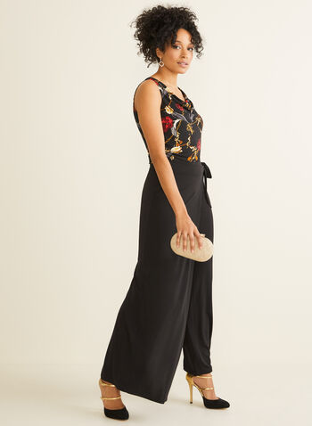 Jupe-culotte longueur maxi , Noir,  jersey, jambe large, jupe maxi, extensible, taille pull-on, à enfiler, taille élastique, automne hiver 2019