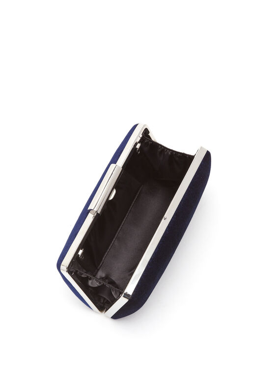 Velvet Box Clutch, Blue, hi-res