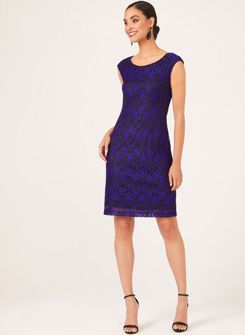 Contrast Lace Shift Dress, Blue,