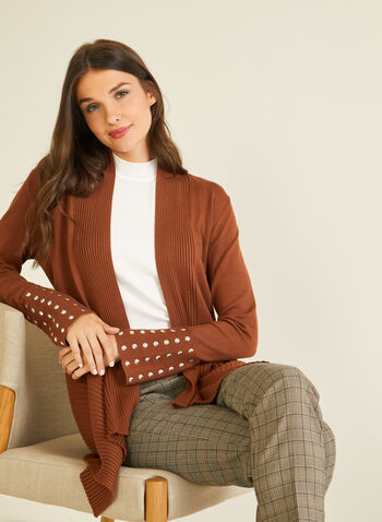 Stud Detail Open Front Cardigan, Brown,  cardigan, open front, stud details, mid-length, ribbed knit, fall winter 2020
