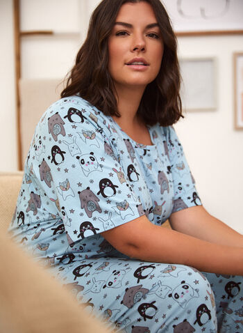 Animal Print Pyjama Set, Blue,  spring summer 2021, pj, pyjama, set, sleepwear, tee, t-shirt, capris, animal print, star print, scoop neck, short sleeve, comfort, sleep, pull-on, elastic waist, made in Canada