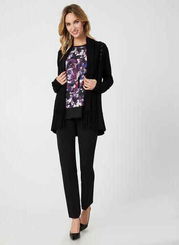 Blouse fleurie sans manches, Noir,  blouse, sans manches, motif floral, abstrait, mousseline, crêpe, automne hiver 2019