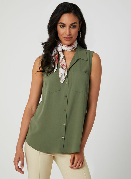 Sleeveless Button Down Blouse, Green
