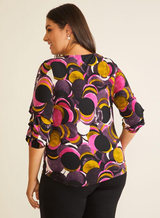 Geometric Print Gathered Sleeve Top, Purple