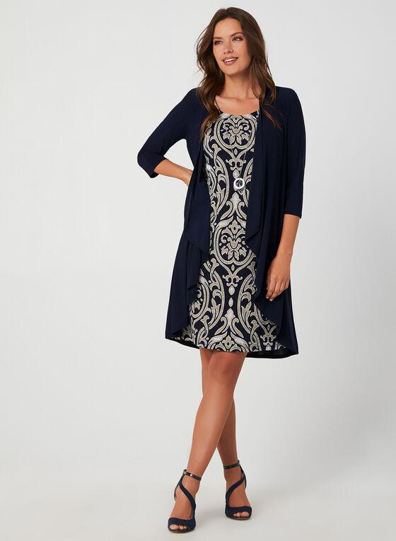 Robe et cardigan motif brocart, Bleu
