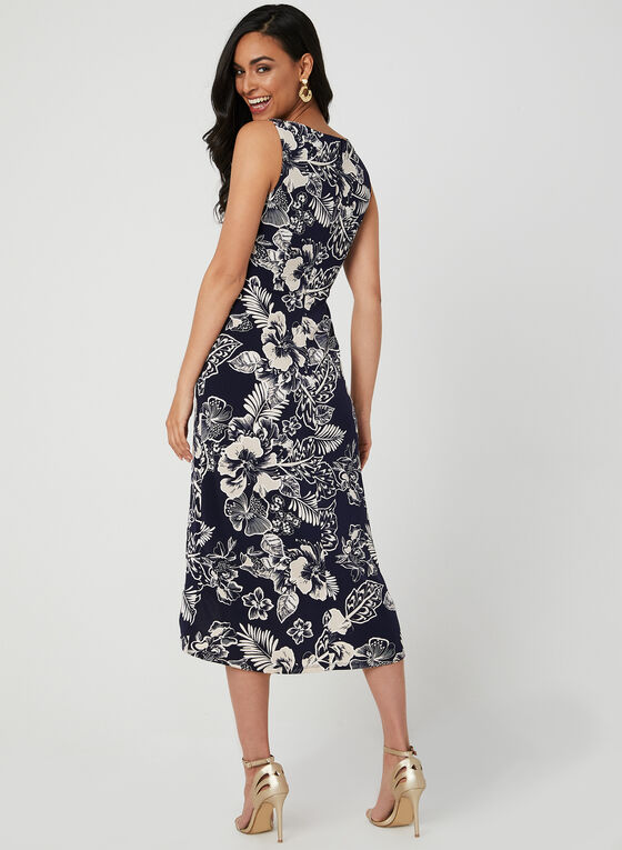 Floral Print Faux Wrap Dress, Blue