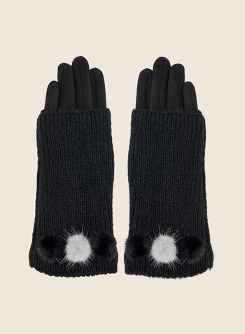 Layered Fur Detail Gloves, Black,  fall winter 2020, knit, mink, real fur, pompom