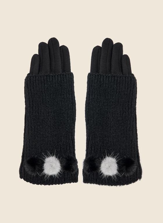 Layered Fur Detail Gloves, Black