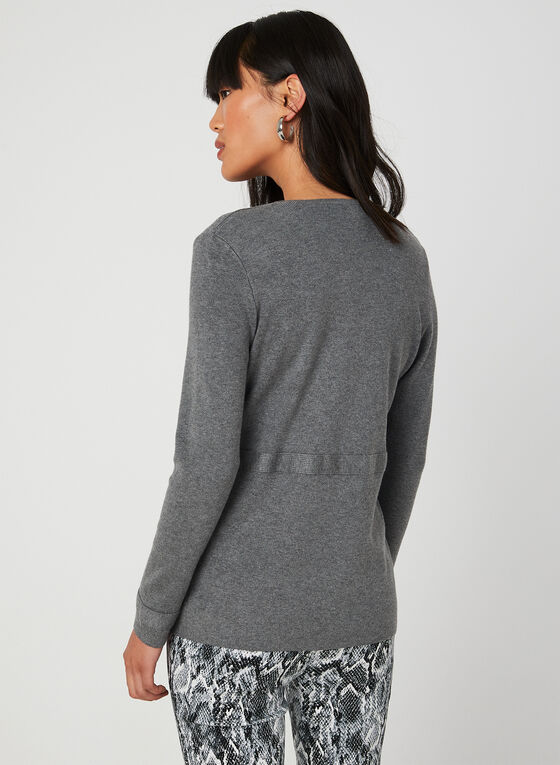 Long Sleeve Knit Cardigan, Grey