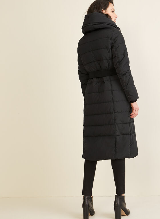 Novelti - Long Quilted Coat With Hood , Black
