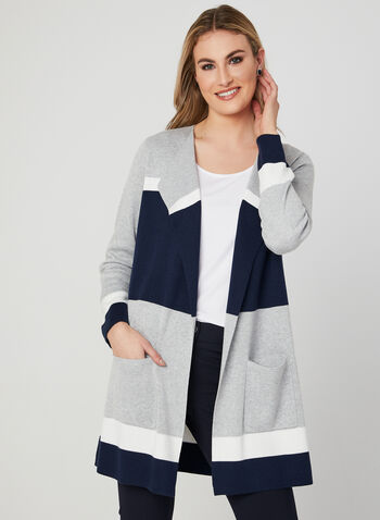 Cardigan long ouvert à blocs de couleurs, Gris, hi-res