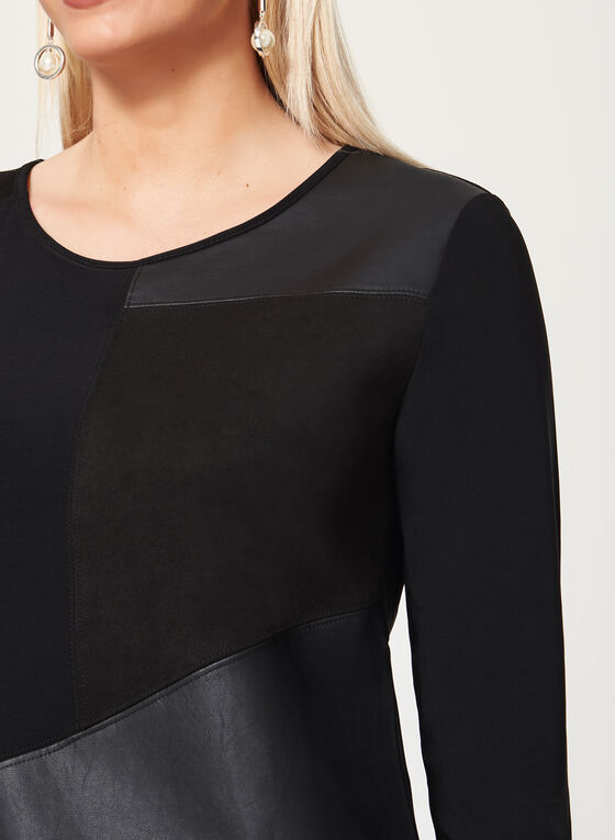 ¾ Sleeve Jersey & Faux Leather Top, Black, hi-res
