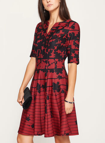 Floral Print Fit & Flare Scuba Dress, Red, hi-res