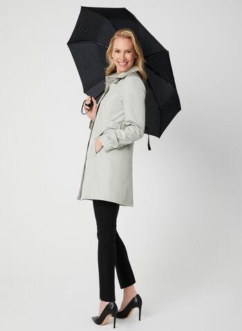 Imperméable satiné avec parapluie , Blanc cassé,  imperméable, manteau, manches longues, satiné, parapluie, printemps 201