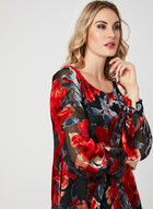 Floral Print Velour Dress, Red, hi-res