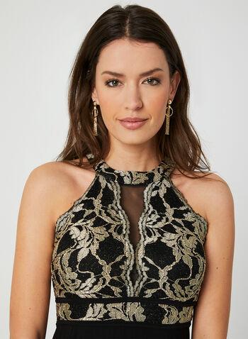 Embroidered Jersey Dress, Black, hi-res