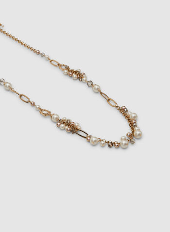 Pearl Cluster Necklace, Yellow,  adjustable chain, spring 2019