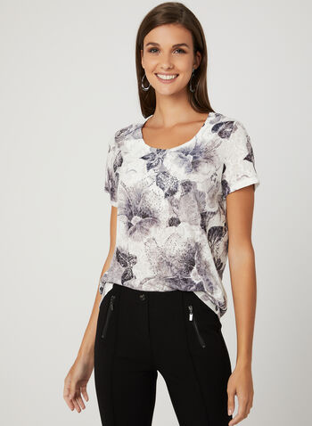 Floral Print Burnout T-Shirt, Grey, hi-res