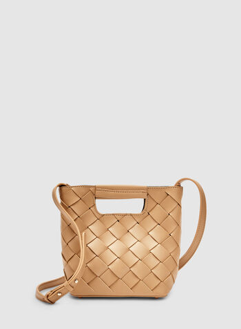Basket Weave Handbag, Brown, hi-res,  handbag, basket weave, spring 2019, summer 2019