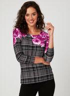 Haut fleurs et carreaux en jersey, Multi, hi-res