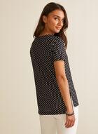 Polka Dot Print T-Shirt, Black
