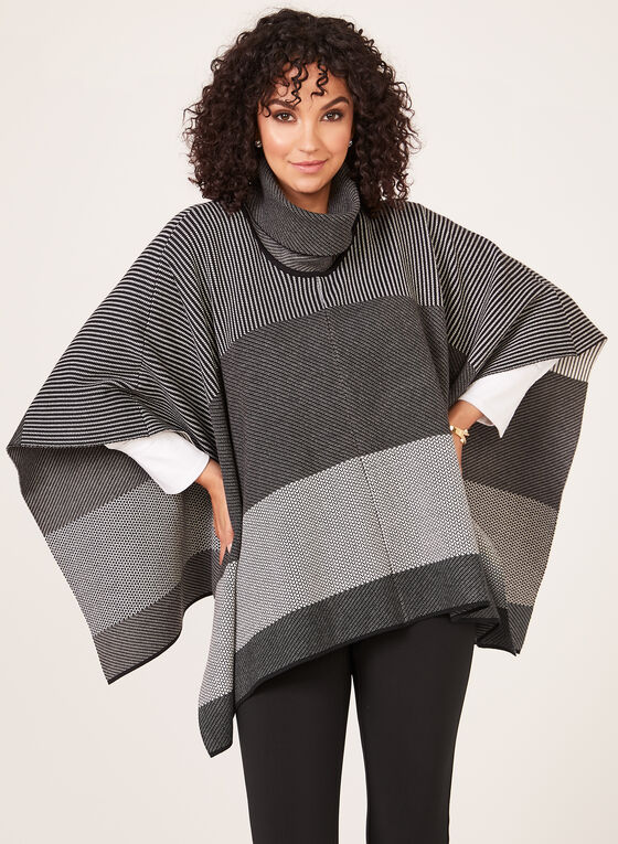 Alison Sheri - Pull poncho à col roulé en tricot, Noir, hi-res