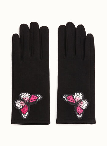 Cotton Blend Butterfly Appliqué Gloves, Black, hi-res