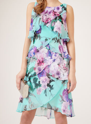 Floral Print Tiered Chiffon Dress, Blue, hi-res