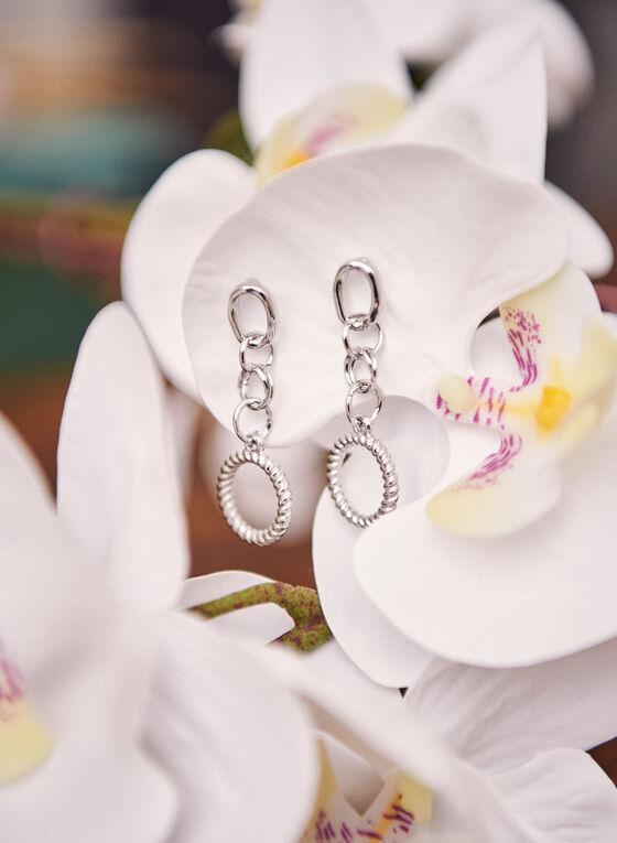 Boucles d'oreilles étagées à anneaux texturé, Argent