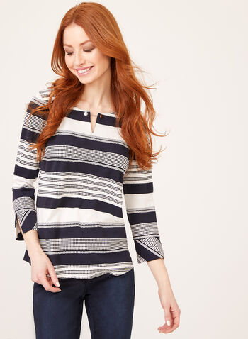 Variegated Stripe Print Top, Blue, hi-res